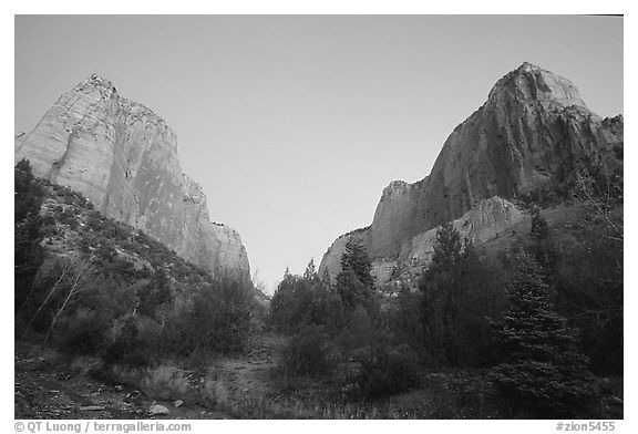 Middle Fork of Taylor Creek, one of  Finger canyons, sunset. Zion National Park (black and white)