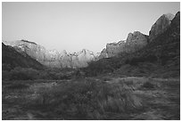 Towers of the Virgin from behind  Museum, dawn. Zion National Park, Utah, USA. (black and white)