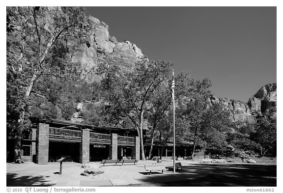 Zion lodge. Zion National Park (black and white)