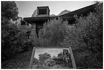 Visitor Center, Native Landscape interpretive sign. Zion National Park ( black and white)
