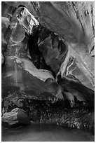 Fairy Glen and alcove, Pine Creek Canyon. Zion National Park ( black and white)