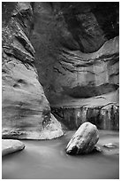 Virgin River flowing around boulders in the Narrows. Zion National Park ( black and white)