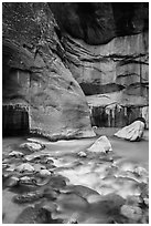 Virgin River flowing over boulders, the Narrows. Zion National Park ( black and white)