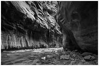 Tunnel passage in the Narrows. Zion National Park ( black and white)