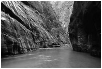 Placid and wide section of Virgin River between cliffs, the Narrows. Zion National Park ( black and white)