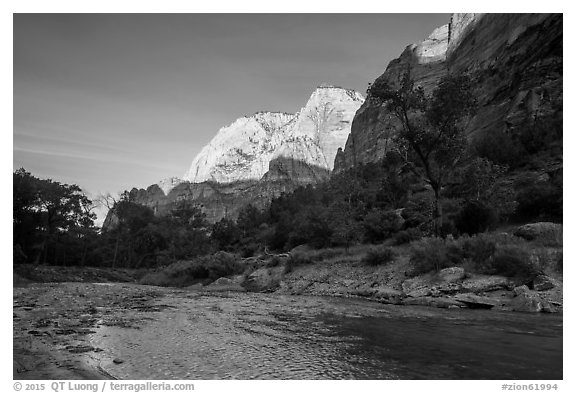 Virgin River and Lady Mountain. Zion National Park (black and white)