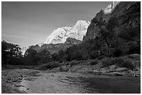 Virgin River and Lady Mountain. Zion National Park ( black and white)