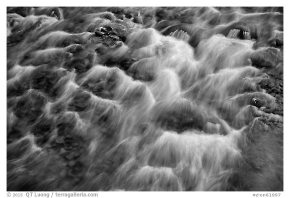 Close-up of Virgin River flowing over pebbles. Zion National Park (black and white)