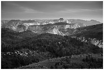 View over forests and canyons from Lava Point. Zion National Park ( black and white)