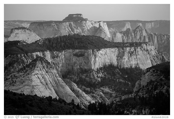 Canyons at sunset, Lava Point. Zion National Park (black and white)