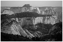 Canyons at sunset, Lava Point. Zion National Park ( black and white)