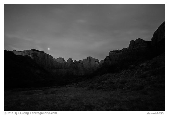 Towers of the Virgin at night. Zion National Park (black and white)