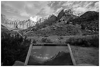 Temples and Towers intepretive Sign. Zion National Park ( black and white)