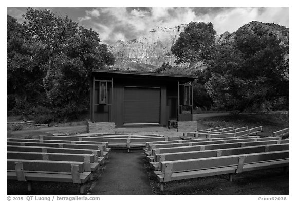 Amphitheater, Watchman Campground. Zion National Park (black and white)
