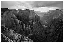 Thunderstorm over Zion Canyon from above. Zion National Park ( black and white)