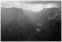Storm over Zion Canyon. Zion National Park ( black and white)