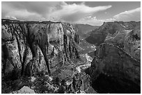 Zion Canyon from Observation Point. Zion National Park ( black and white)