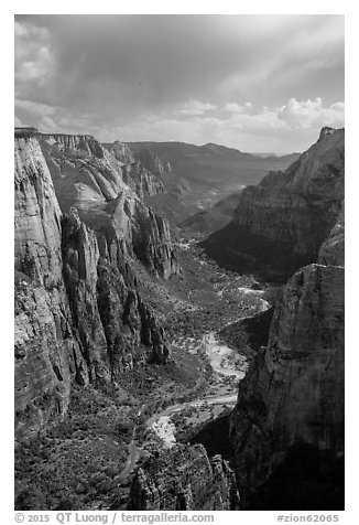 Zion Canyon from above. Zion National Park (black and white)