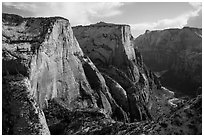Cable Mountain and Zion Canyon. Zion National Park ( black and white)