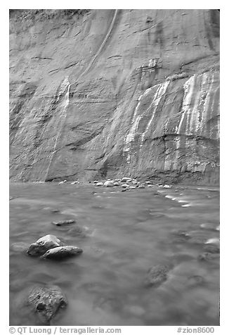 Mystery Falls, the Narrows. Zion National Park (black and white)