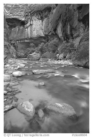Rock alcove and Virgin River, the Narrows. Zion National Park (black and white)