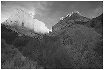 Kolob Canyons at sunset. Zion National Park, Utah, USA. (black and white)