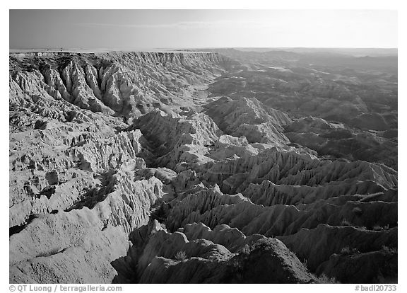 Basin of spires, pinacles, and deeply fluted gorges, Stronghold Unit. Badlands National Park (black and white)