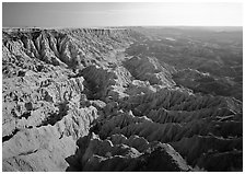 Basin of spires, pinacles, and deeply fluted gorges, Stronghold Unit. Badlands National Park, South Dakota, USA. (black and white)