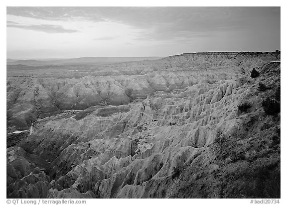 The Stronghold table, southern unit, dawn. Badlands National Park (black and white)