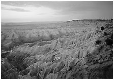 The Stronghold table, southern unit, dawn. Badlands National Park ( black and white)