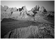 Mudstone formations, Cedar Pass, sunrise. Badlands National Park, South Dakota, USA. (black and white)