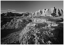 Eroded badlands, Cedar Pass, sunrise. Badlands National Park, South Dakota, USA. (black and white)