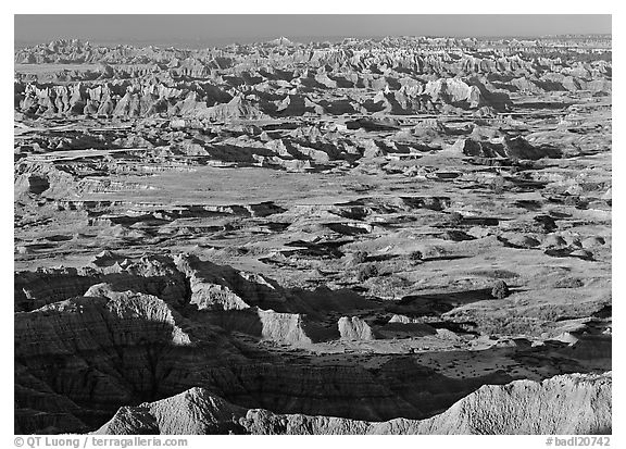 Prairie and eroded ridges stretching to horizon, early morning. Badlands National Park (black and white)