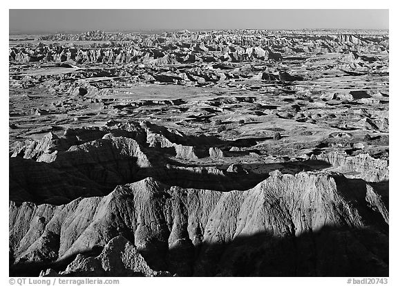Badlands and prairie seen from above. Badlands National Park (black and white)