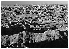 Badlands and prairie seen from above. Badlands National Park ( black and white)