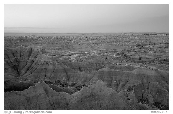 View from Pinacles overlook, dawn. Badlands National Park (black and white)