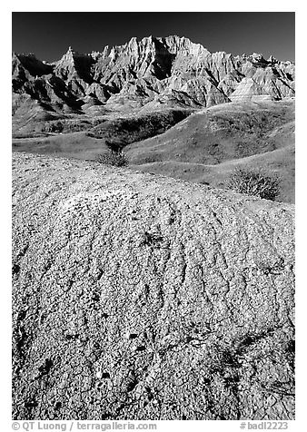 Mudstone badlands and grass prairie. Badlands National Park (black and white)