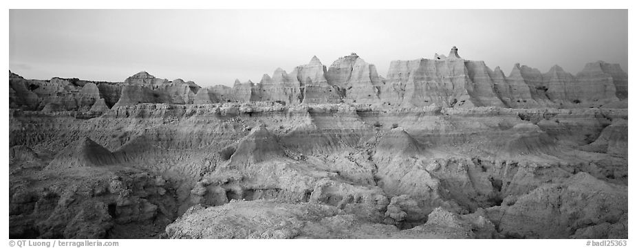 Badlands formations with pastel hues at dawn. Badlands National Park (black and white)