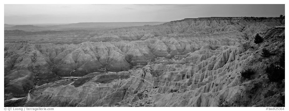 Badlands scenery at dawn, Stronghold Table. Badlands National Park (black and white)