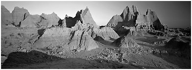 Badlands landscape, early morning. Badlands National Park (Panoramic black and white)