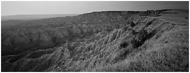 Badlands panorama seen from prairie edge, Stronghold Unit. Badlands National Park (Panoramic black and white)