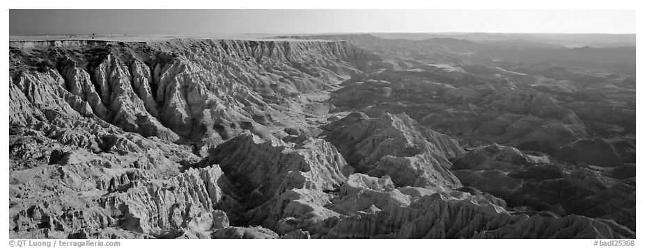Badlands carved into prairie by erosion. Badlands National Park (black and white)