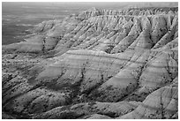 Badlands with colorful stripes at sunrise. Badlands National Park, South Dakota, USA. (black and white)