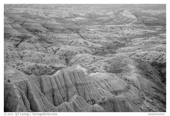 Pastel-colored badlands from Panorama Point. Badlands National Park (black and white)