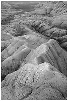 Brule formation badlands. Badlands National Park, South Dakota, USA. (black and white)