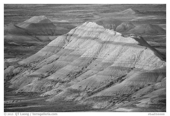 Badlands with bands of color. Badlands National Park (black and white)