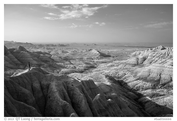 Park visitor looking, Panorama Point. Badlands National Park (black and white)