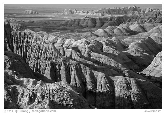 Buttes and ridges with shadows. Badlands National Park (black and white)