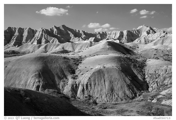 Yellow Mounds. Badlands National Park (black and white)