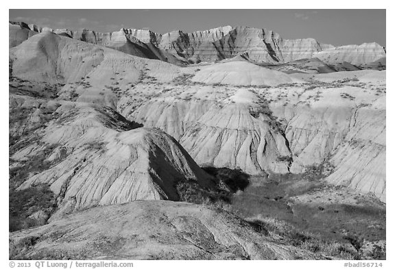 Badlands with yellow and red soils. Badlands National Park (black and white)